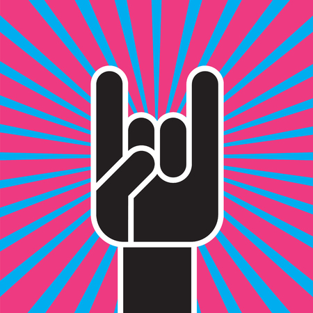 Sign of the Horns Hand Gesture vector illustration Banco de Imagens - 98107147