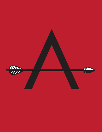 Letter A monogram with arrow as cross bar. Vector typographic design of sans serif A drop cap with arrow illustration. Фото со стока - 102805368