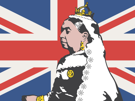 Queen Victoria illustrazione vettoriale. Disegno di Victoria, l'ex regina d'Inghilterra sullo sfondo della bandiera britannica Union Jack.