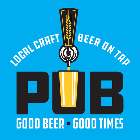 Pub Craft Beer Vector Design. Vector illustration of beer tap and pint glass making pub or brew pub badge.