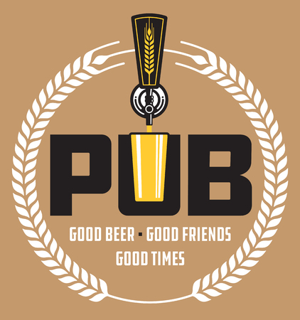 Pub Craft Beer Vector Design. Vector illustration of beer tap and pint glass making pub or brew pub badge. Фото со стока - 103383024
