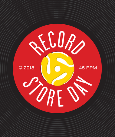 Record Store Day Badge or Emblem Vector Design. Design featuring close up of vinyl record center label with spindle adaptor insert and the words Record Store Day. Easy to edit and fully scalable.