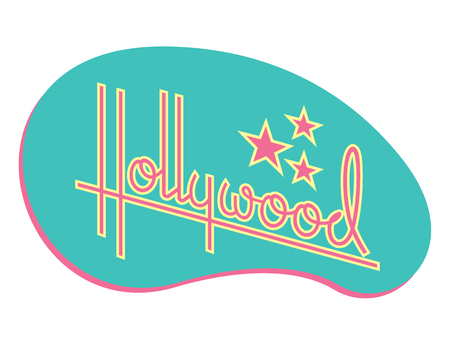 Hollywood Retro Vector Design with Stars. Custom hand drawn script design of the word Hollywood with retro 1950s style vibe, reminiscent of old motel and diner signs. Ilustra��o