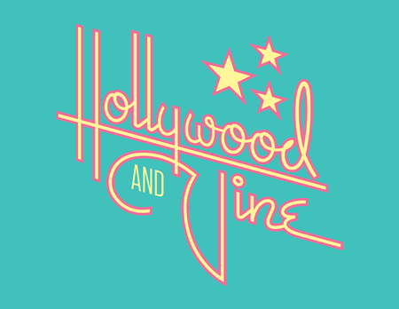 Hollywood and Vine Retro Vector Design with Stars. Custom hand drawn script design of the words Hollywood and Vine with retro 1950s style vibe, reminiscent of old motel and diner signs. Иллюстрация