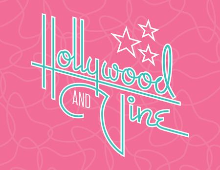 ハリウッドとヴァインレトロベクターデザインと星。古いモーテルやダイナーサインを連想させるレトロな1950年代スタイルの雰囲気を持つハリウッドとヴァインという言葉のカスタム手描きスクリプトデザイン。 写真素材 - 103383031