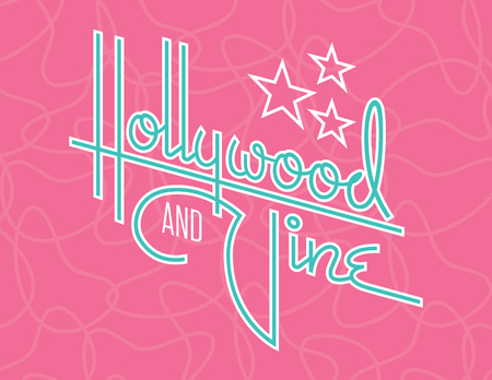 Hollywood and Vine Retro Vector Design with Stars. Custom hand drawn script design of the words Hollywood and Vine with retro 1950s style vibe, reminiscent of old motel and diner signs.  イラスト・ベクター素材