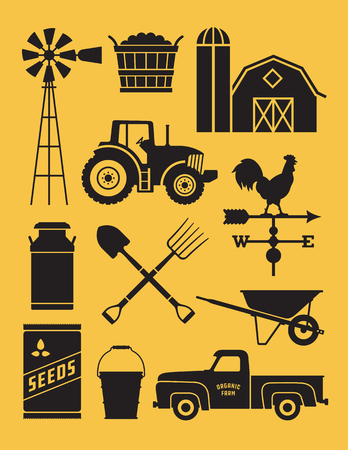 Set of 11 detailed farm icon illustrations. Realistic and highly detailed silhouette illustrations of farm tools, buildings and vehicles. Illustration