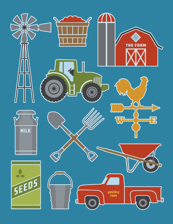 Set of 11 detailed farm icon illustrations. Realistic and highly detailed silhouette illustrations of farm tools, buildings and vehicles. Иллюстрация