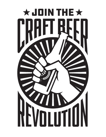 Craft Beer Revolution vector badge or label design. Fist holding a bottle of craft beer in retro logo banner design. Фото со стока - 106580544