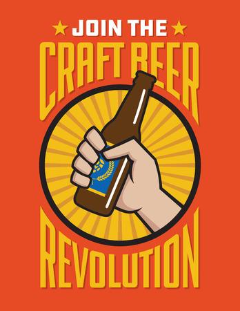 Craft Beer Revolution vector badge o etichetta design. Pugno che tiene una bottiglia di birra artigianale nel design del banner logo retrò.