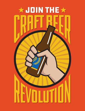 Craft Beer Revolution vector badge or label design. Fist holding a bottle of craft beer in retro logo banner design. Фото со стока - 106580546