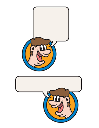 Happy talking man cartoon illustration. Fun vector design of man talking or shouting with speech balloon to add your text to. Фото со стока - 106580550
