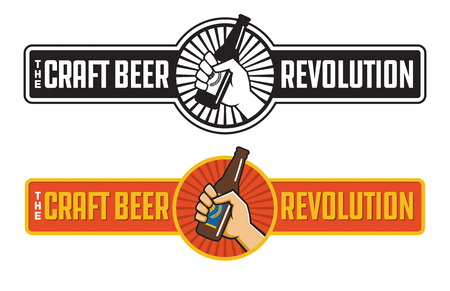 Craft Beer Revolution vector badge or label design. Fist holding a bottle of craft beer in retro logo banner design.