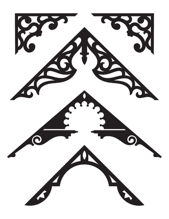 Set of Victorian Gingerbread Architectural Trim Illustrations. Silhouette vector illustrations of vintage design details from classic Victorian houses. Фото со стока - 108006423