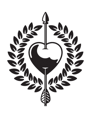 Vector illustration of heart pierced by arrow with laurel wreath. Tattoo style drawing of love symbol featuring heart with cupid's arrow through it. Illustration