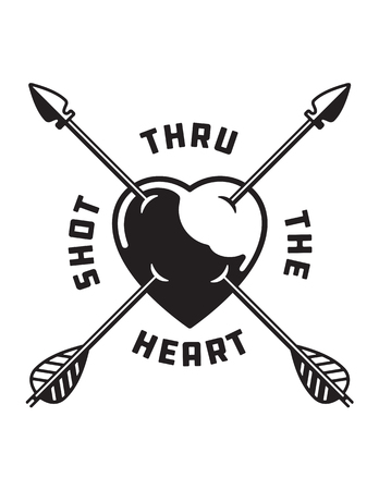 Shot Through The Heart love symbol illustration. Vector tattoo style drawing of heart pierced by cupid's arrows.
