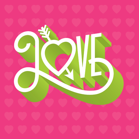 Love 3D typographic illustration with arrow through heart. Ornate hand-drawn vector illustration of the word love with swashes and three dimensional extruded look.