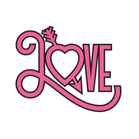 Love flat design typographic illustration with arrow through heart. Ornate hand-drawn vector illustration of the word love with swashes and a heart forming the letter o. Banco de Imagens - 110754828