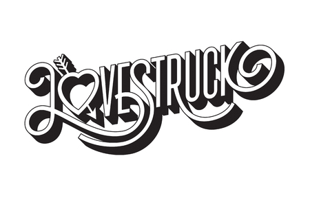 Love Struck 3D typographic illustration with arrow through heart.
