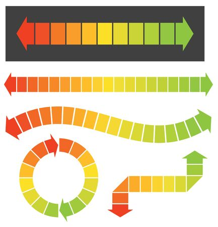 Set of 5 colorful arrow or graph elements These colorful arrow illustrations are great for infographic or graph designs. The colors change from red to orange to yellow to green. Perfect for showing change of climate or environment or change over time. Banco de Imagens - 133429278