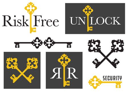 Set of Antique Key emblem graphics. Seven variations of logo or emblem designs using decorative vintage key. Great for security, protection or real estate graphics. Фото со стока - 133429279
