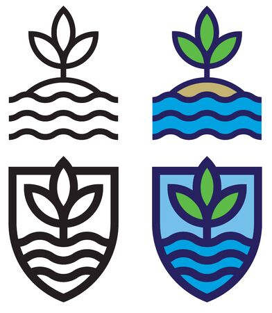 Set of land, sea and sky mono-line emblems. Bold outline, flat design graphics showing waves, leaves and sky. Includes isolated version and shield shape enclosed version.
