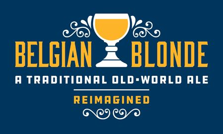 Belgian Blonde Craft Beer Badge or Label vector design featuring traditional Belgian style goblet or chalice. Banco de Imagens - 138457708