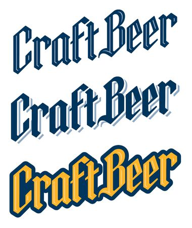 Set of three traditional black letter Craft Beer logo designs. Craft Beer letters in hand drawn Old English, Germanic, Gothic Script font. Banco de Imagens - 138457709