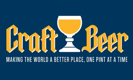 Craft Beer Badge or Label with traditional Belgian style goblet and gothic lettering. Vector design featuring the slogan Making the World a Better Place, One Pint at a Time. Banco de Imagens - 138457710