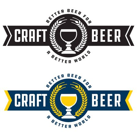 Craft Beer Banner Style Badge or Label with traditional Belgian goblet, barley wreath and gothic lettering. Includes black and white and color versions. Ilustração