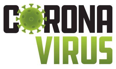 Corona Virus logo illustration with virus molecule. Vector graphic or badge showing molecular structure. Ilustração