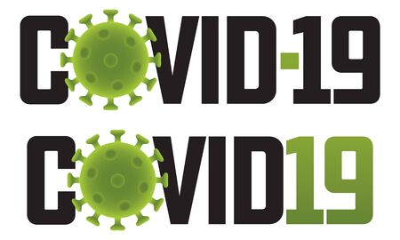 Covid-19 logo illustration with virus molecule.  Set of two different Covid-19 vector graphics or badges showing molecular structure.