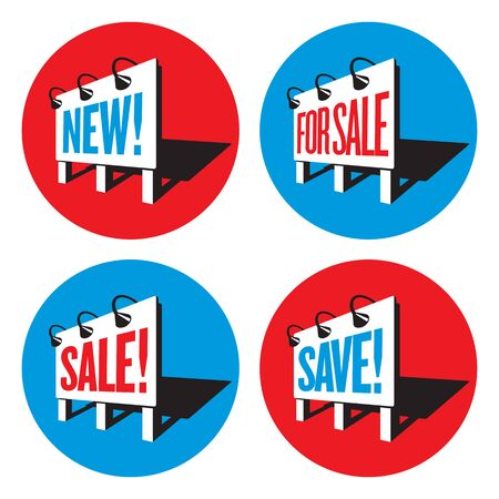 Set of four billboard sign logos or badges with sales and marketing messages. Illusztráció