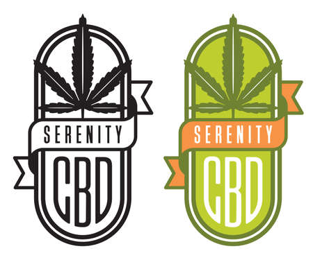 Cannabis CBD vector logo or badge. Cannabis leaf design with CBD and serenity banner. Includes color and black and white versions. Illusztráció