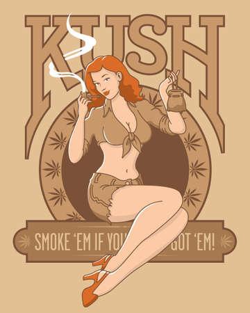 Retro cannabis marijuana kush pinup girl design. Sepia tone vector illustration of beautiful woman smoking pipe with marijuana leaves and kush letters.  イラスト・ベクター素材