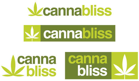 Set of 4 cannabis or marijuana logo or badge designs combining the words cannabis and bliss to form cannabliss. Includes simplified cannabis leaf.
