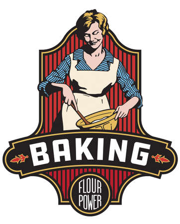 Vintage style baking badge or emblem with decorative frame and banner and the phrase flour power. Features retro vector drawing of baker mixing ingredients in a bowl with a wooden spoon.