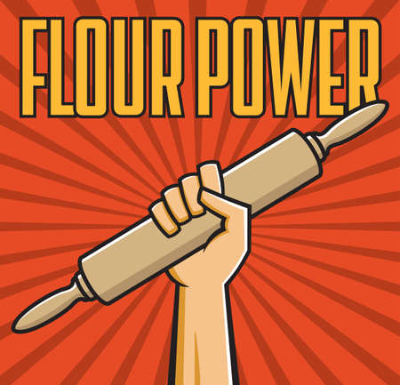 Flour power vector badge or emblem of fist holding rolling pin in the style of Russian constructivist propaganda posters. 矢量图像