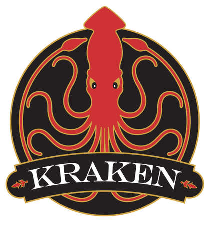 Kraken or Giant Squid badge, logo, or emblem design with ornate banner. Vector illustration badge showing giant squid with 10 curling tentacles creating circle design. 矢量图像