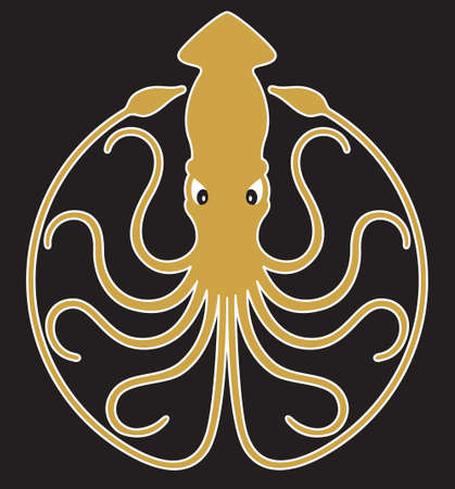Giant Squid badge, logo, or emblem design. Vector illustration badge showing giant squid with 10 curling tentacles creating circle design.