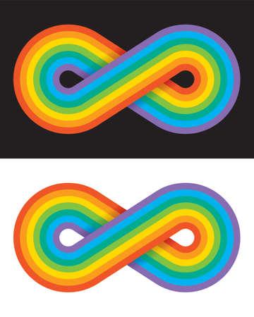 Rainbow coloured infinity symbol. Vector illustration of overlapping rainbow lines creating the endless loop infinity symbol. Ilustração