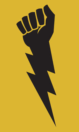 Raised fist lightning bolt protest icon. Vector illustration shows clenched fist combined with lightning bolt for powerful symbol of anger and protest. Ilustração