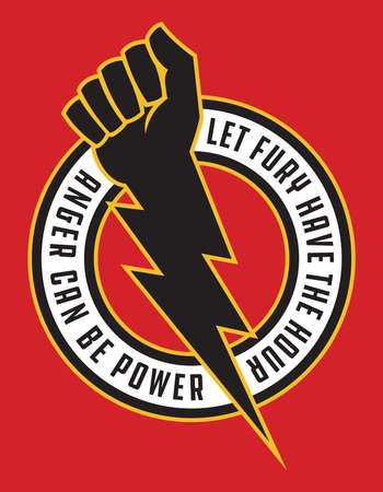 Raised fist lightning bolt anger protest badge. Vector illustration shows clenched fist combined with lightning bolt for powerful symbol of anger and protest. Ilustração