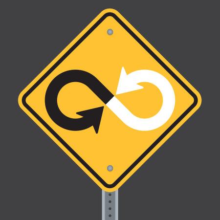 Infinity warning highway or road sign. Vector illustration of road danger sign showing converging twisted arrow lines making infinity symbol. Ilustração
