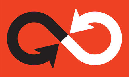 Infinity symbol with pointing directional arrows. Vector illustration of curved overlapping lines with arrows pointed directly at each other. Ilustração