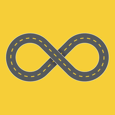 Endless highway infinity symbol graphic. Vector illustration of a road that never ends shaped into the infinity symbol to symbolize a journey that goes on forever.