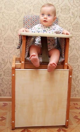 highchair: adorable baby on highchair, at home
