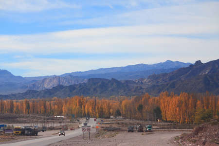 beautiful autumn landscape on the road between Santiago and Mendoza photo