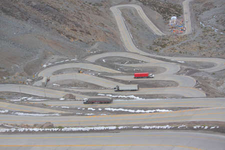 switchback: the international road with many switchbacks between Santiago and Mendoza
