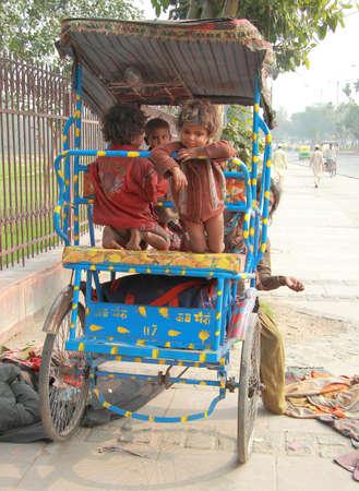 homeless children: Delhi, India - February 20, 2015 homeless children wait somewhat in Delhi, India